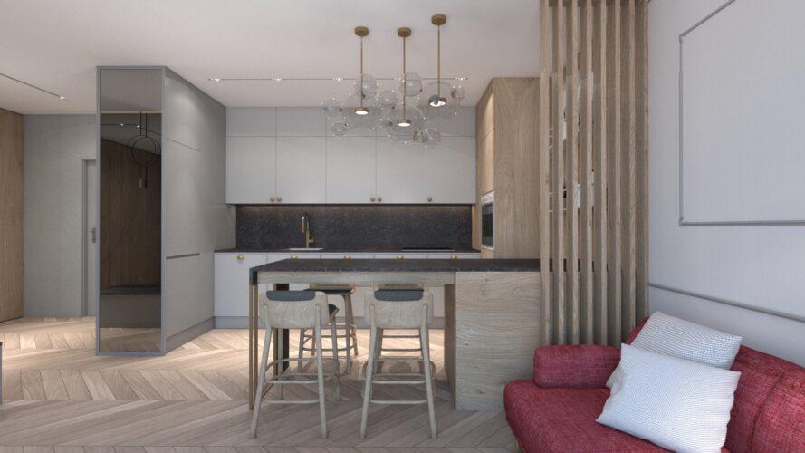 projekt wnętrz mieszkania 50m2