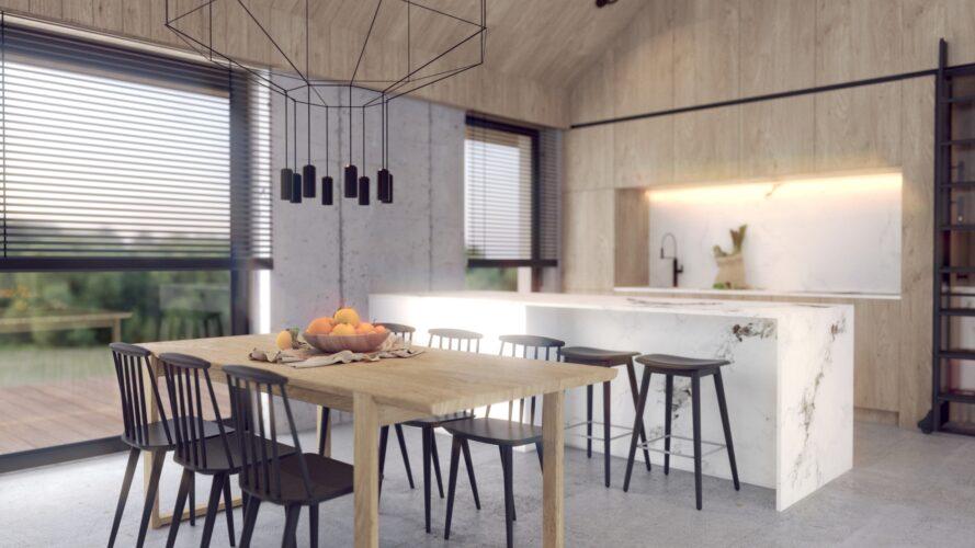 nowoczesna stodoła - projekt wnętrz