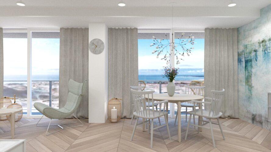 projekt wnętrz apartamentu nad morzem